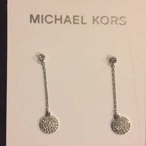 MICHAEL KORS DISC CRYSTALS DROP EARRINGS